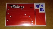 A Transformers complete premium quality replacement decal sheet for G1 Runabout