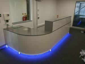 RECEPTION DESK ANTHRACITE GLOSS AND WHITE  CURVED CORNER LED COLOUR  LIGHTS