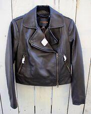 NWT COACH Black Lamb Leather Moto Jacket Size SMALL
