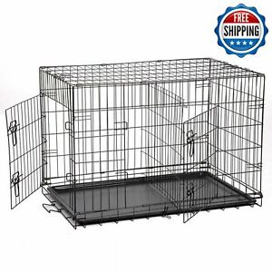 "Extra Large Dog Kennel Crate Folding Pet Cage 48"" Metal 2 Doors Tray Pan XXL XL"