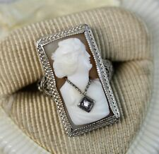 Diamond Ring Filigree Lady Necklace (5.75) Art Deco 14K White Gold Cameo Shell