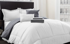 Hotel New York Bed in a Bag Comforter Set White & Platinum Queen