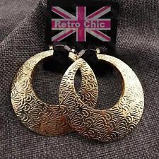 5cm BIG CREOLE HOOPS embossed pattern GOLD PLATED hoop FASHION EARRINGS creoles