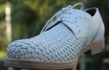 Salvatore Ferragamo man's  White tooled  Woven Leather Oxfords  Shoes  size 10 D