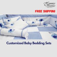 11Pcs Baby Nursery Crib Cot Bedding Sets Quality Comfort New Blue Elephant