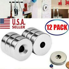 12 PACK 3/4 x 1/4 Inch Neodymium Rare Earth Countersunk Ring Magnets N52 NEW USA