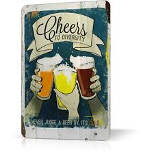 METAL TIN SIGN BEER COLOR CHEERS Retro Vintage Rusted Decor Home Bar Wall