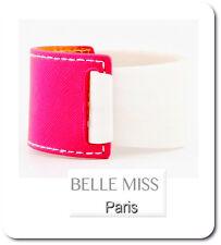 Armband Armreif  Leder-Optik/Kunststoff Breit 4 cm Belle Miss Paris Rosa/Weiß
