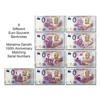 India Euro Souvenir Banknote Schein Gandhi Set of 9 Different 2020 Issue