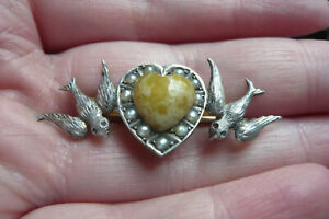 Art Deco Scottish Iona Marble, Seed Pearl and White Metal Love Bird's Brooch