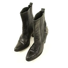 Zodiac Vision Black Leather High Heel Mid Calf Boots Women 8.5 Embellished Bling