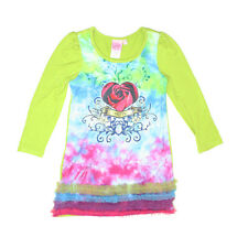 NWT 10 yr Boutique LIPSTIK Sublimation L/S Knit Dress Ruffle Tulle Trim