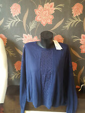 Stunning French Connection  Lace Knit Navy Jumper SIZE XL RRP £80 FREE UK PP