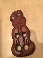 Rotorua New Zealand Hand Carved Wooden Mask Wall Sculpture Abalone Shell Eyes