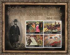 Liberia 2014 MNH Henri de Toulouse-Lautrec 150th Anniv Birth 4v M/S I Paintings