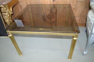 70er/80er Jahre Messing Tisch Wohnzimmertisch Beistelltisch mit Rauchglasplatte