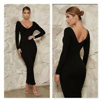 MESHKI | Womens Black Long Sleeve Ribbed Dress NEW [ Size M or  AU 12 / US 8 ]