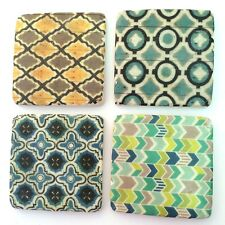 Tex Patterned Drink Table Coasters Set of 4 - Resin Stone Ceramic Cork Base Mats