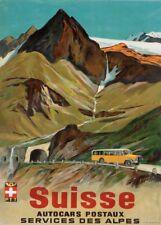 Vintage Ski Posters SUISSES D'AUTOCARS DES ALPES, Swiss, 1939, Art Deco Print