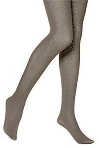 "HUE ""Tights"" Stone Crosshatch Control Top Pantyhose Hosiery #13676 S/M NWT"