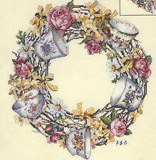 Cross Stitch Kit ~ Candamar Floral Teacup Tea Cup Wreath #51234