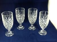 Vintage Pressed Glass 4 Iced Tea Goblets Footed Tumblers LRG HEAVY