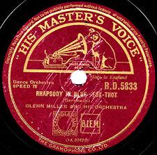 """1944 GLENN MILLER 78 """" RHAPSODY IN BLUE / CARRIBEAN CLIPPER """" UK HMV BD 5833  V+"""