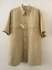 YES 60 Linen 40 Cotton Mens Short Sleeve Beige Casual Shirt Size Large L NWT