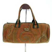 ETRO Vintage Paisley Design Small Beauty Canvas Bag Pouch in Brown - Italy Y2K