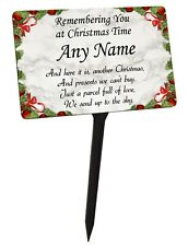 Personalised Christmas Memorial Plaque & Stake with Name. garden grave