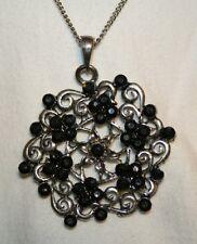 Lovely Floral Swirl Filigree Ebony Rhinestone Necklace +++++