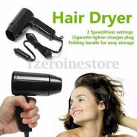 12V Car Portable Hot & Cold Hair Dryer Folding Handle Compact Camping Festivals