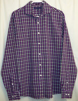Tommy Hilfiger Button Front Shirt Men's 15-1/2 34-35 Purple Plaid Slim Fit