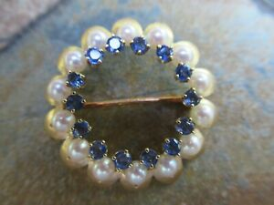 14K Yellow Gold & Pearls & Sapphires Round Brooch / Pin, 6.8 gtw