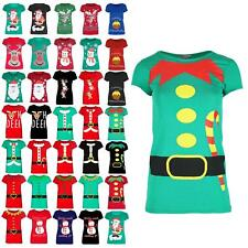 Ladies Christmas Elf Candy Top Stick Belr Womens Costume Xmas Stretchy T Shirt