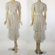 Antique Edwardian white tiered net lace tea dress pin tucks wedding bridal