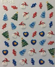 Nail Art 3D Stickers Glitter Decals Christmas Tree Santa Winter Candy Heart CR16