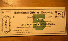 Schoolcraft Mining Company $5 Obsolete Currency
