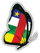 Central African Republic Flag Butterfly Car Bumper Sticker Decal 4'' x 5''