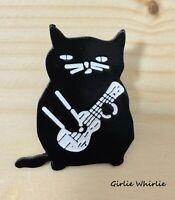 Cat Brooch Pin Badge Enamel Gift Black Guitar Music White Jewellery Cat Lover