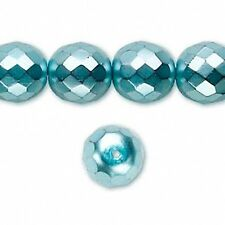 4859 Czech Fire Polished Faceted Beads Teal 12mm  *UK EBAY SHOP*
