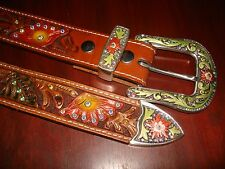 "Stunning Genuine Hand Crafted Leather Belt (Sz-XL, 1.5""-wide) Retail-$125.00"