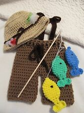Crochet Fisherman Set for Baby Photo Prop (Pants, Suspenders, Hat and 3 Fish)