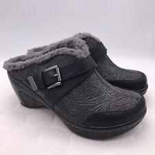 JBU by Jambu Women's Sweden Faux Fur Slide Gray Leather Wedge Sz 6 Nurse Shoes
