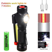 USB Rechargeable COB LED 18650 Flashlight Work Light Magnetic Camping Lamp Torch
