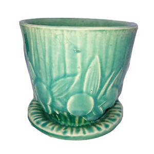 """Vintage McCoy Pottery Flower Pot Planter Turquoise Aqua Leaves Berries 4"""""""