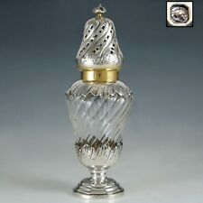 Antique French Sterling Silver & Cut Crystal Sugar Shaker Caster, Muffineer