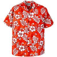 500-1744 Orange Hawaiian Aloha Shirt Tropical Hibiscus Plumeria Flowers Uniform