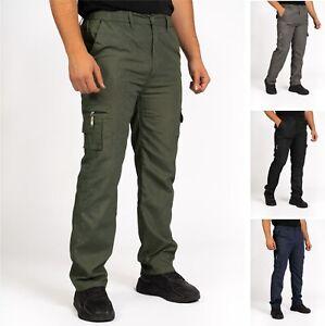 Mens Cargo Trousers Lightweight Elasticated Combat Work Bottoms Pants M-3XL