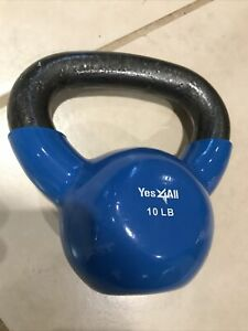 Yes4All 10LB Blue Kettlebell Weight Rubber Coated New